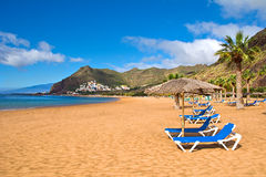 Canary Islands, Tenerife. Beach las Teresitas with yellow sand. Canary Islands royalty free stock images
