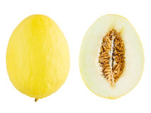 Canary melon. With cross section isolated on white Stock Image