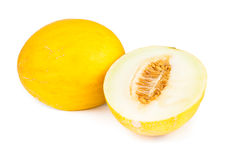Canary Melon. Over white background Royalty Free Stock Photo