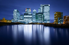 Canary Wharf. Is a modern business and shopping development in East London.Rivalling London's traditional financial centre. This view contains the UK's tallest royalty free stock images