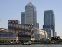 Canary Wharf. Complex shot from across the Thames, London stock photography
