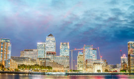 Canary Wharf buildings exterior at sunset, London - UK Royalty Free Stock Image