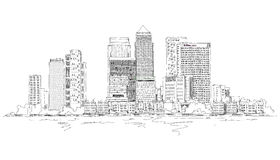Canary Wharf business aria, London, Sketch collection illustration Royalty Free Stock Photos