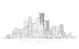 Canary Wharf business aria, London, Sketch collection illustration Stock Photography