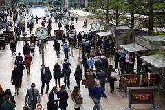 Canary Wharf business aria and office workers Stock Image