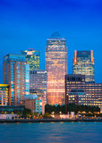 Canary Wharf business and banking aria and first night lights, London Stock Photos