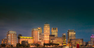 Canary Wharf business and banking aria and first night lights, London Royalty Free Stock Photos
