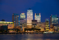 Canary Wharf business and banking aria and first night lights, London Stock Images