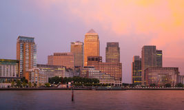 Canary Wharf business and banking district night lights Stock Image