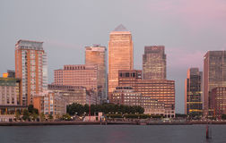 Canary Wharf business and banking district night lights Royalty Free Stock Photography