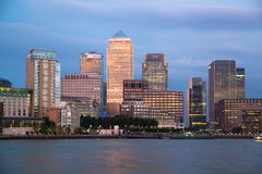 Canary Wharf business and banking district night lights Royalty Free Stock Photos