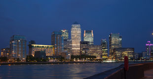 Canary Wharf business and banking district night lights Royalty Free Stock Image