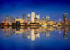 Canary Wharf business and banking district night lights, london Royalty Free Stock Photos