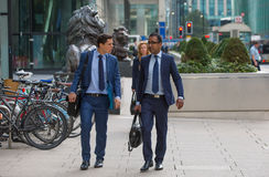 Canary Wharf business life. Group of business people going to work Royalty Free Stock Photos