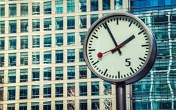 Canary Wharf clock Stock Photos