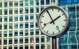 Canary Wharf clock Stock Photos
