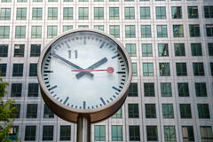 Canary Wharf Clock. London, UK Stock Images