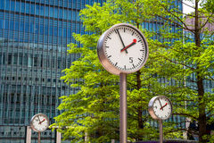 Canary Wharf Clocks. London, UK Royalty Free Stock Images