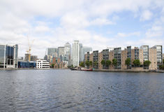 Canary Wharf and the Docklands canals. A view of Canary Wharf from the Isle of Dogs canals Stock Photo