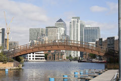 Canary Wharf and the Dosclands canals. A view of Canary Wharf from the Isle of Dogs canals Royalty Free Stock Photos