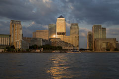 Canary Wharf Financial District. London, UK - August 7, 2015: Canary Wharf business and financial district at dusk Stock Photography