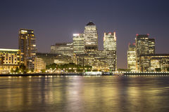 Canary Wharf Financial District. London, UK - August 7, 2015: Canary Wharf business and financial district at night Stock Photos