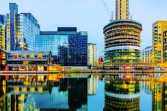 Canary wharf financial district at night royalty free stock photography