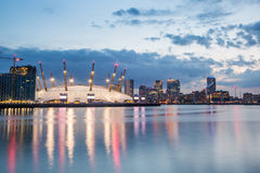 London city o2 arena skyline panorama Royalty Free Stock Photo