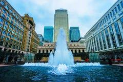 Canary Wharf-fontein Stock Fotografie