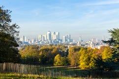 Canary Wharf-Horizon van het Park van Greenwich Royalty-vrije Stock Foto