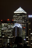 Canary Wharf illuminated at night Royalty Free Stock Photo