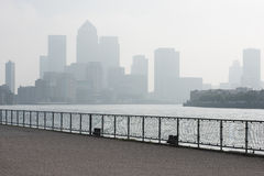 Canary Wharf in Londen met copyspace Royalty-vrije Stock Fotografie