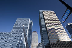 Canary Wharf, London. Canary Wharf is a large business and shopping development in East London.Rivalling London's traditional financial centre. This view stock image