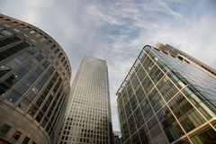 Canary wharf london. Looking up at canary wharf buildings stock photography