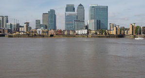 Canary Wharf in London. The Canary Wharf business centre in London, UK seen from Greenwich Royalty Free Stock Images