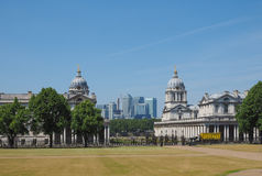 Canary Wharf in London. The Canary Wharf business centre in London, UK seen from Greenwich Stock Image