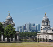 Canary Wharf in London. The Canary Wharf business centre in London, UK seen from Greenwich Royalty Free Stock Image