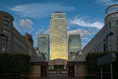 Canary Wharf London from Cabot Square dusk Stock Photography
