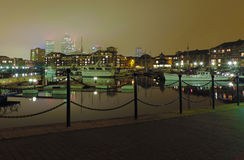 Canary wharf. London docks in the night Royalty Free Stock Photos