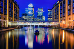 Canary Wharf in London in the Evening Stock Photo
