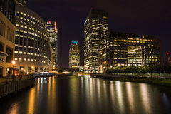 Canary Wharf, London, at night Stock Photo