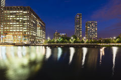 Canary Wharf In London at night Stock Photo