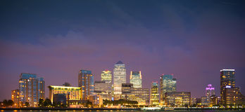 Canary Wharf, London. Night view. From the River Thames Royalty Free Stock Image