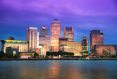 Canary Wharf, London. Night view. From the River Thames Stock Photos