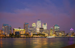 Canary Wharf, London. Night view. LONDON, UK - OCTOBER 17, 2014: Canary Wharf business and banking district night lights Stock Photography
