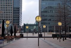 Canary Wharf, London, showing clocks Stock Image