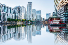 Canary Wharf in London at Sunset Royalty Free Stock Photography