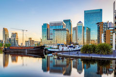 Canary Wharf in London at Sunset Royalty Free Stock Photo