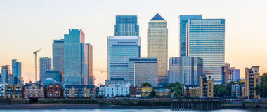 Canary Wharf in London at Sunset Stock Photos