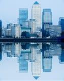 Canary Wharf, London, UK. Canary Wharf with waves reflection , London, UK Stock Photos